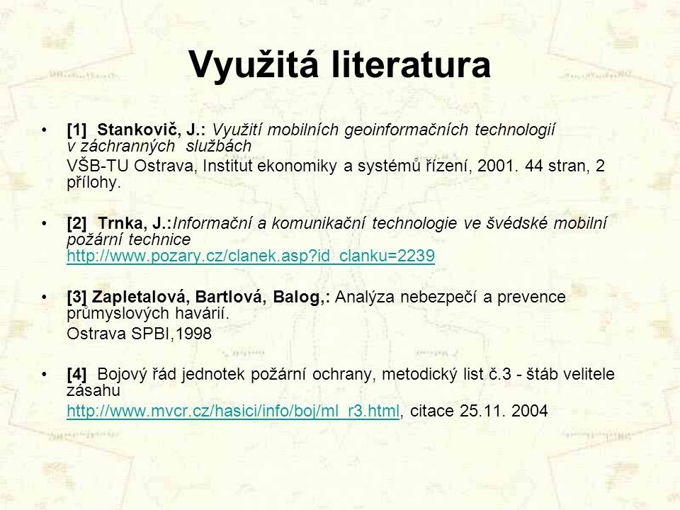 Využitá literatura [1] Stankovič, J.: Využití mobilních geoinformačních technologií v záchranných službách.